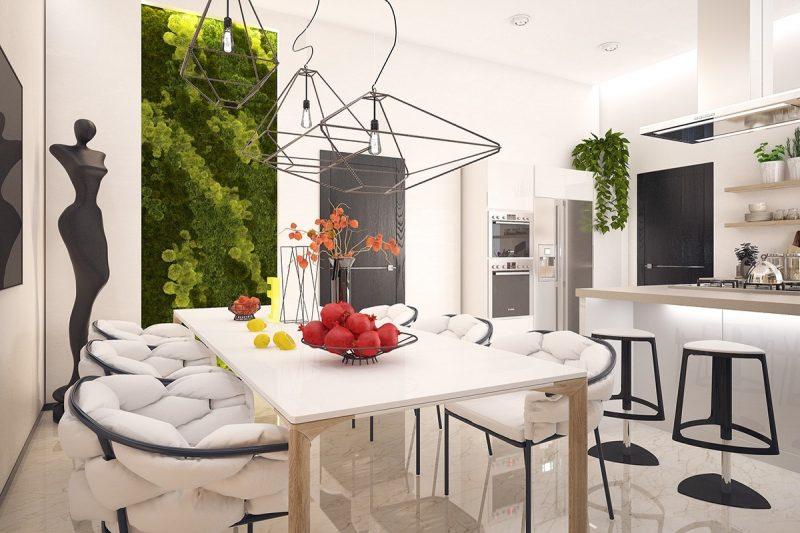 Vertikaler Garten bringt Farbe in der weißen Küche