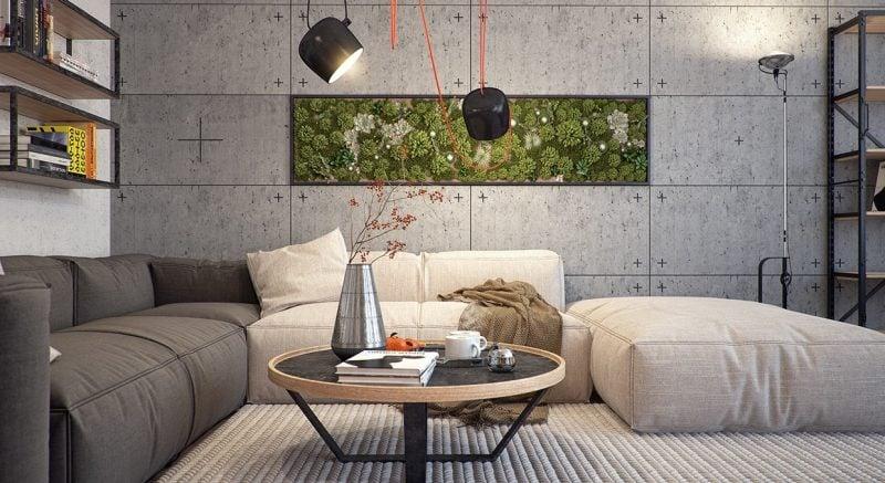 Vertikaler Garten im Wohnzimmer