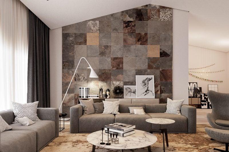 Wandpaneele mit Steinoptik als dekorative Elemente