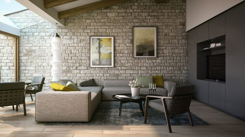 Wandpaneele mit Steinoptik für das Wohnzimmer