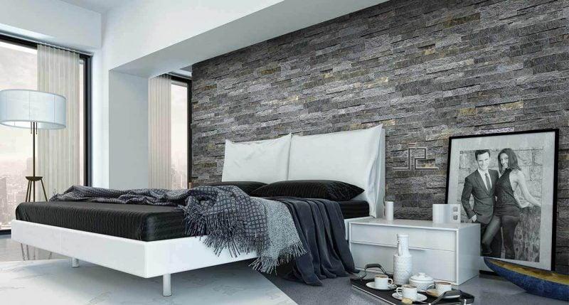 Wandpaneele mit Steinoptik in Grau fürs Schlafzimmer