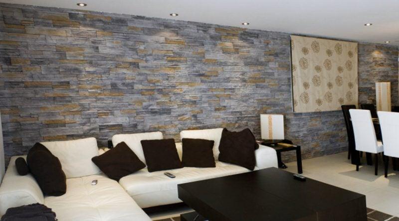 Wandpaneele mit Steinoptik in zwei Farben