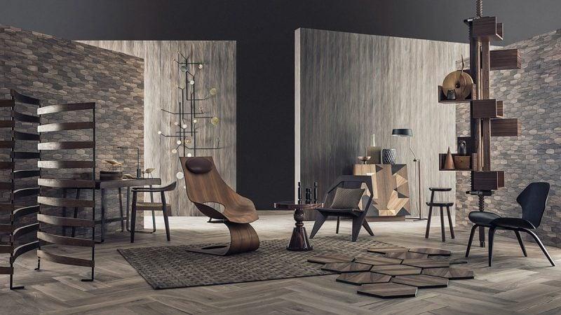Rustikale Ambiente im Wohnzimmer mit Wandpaneele mit Steinoptik