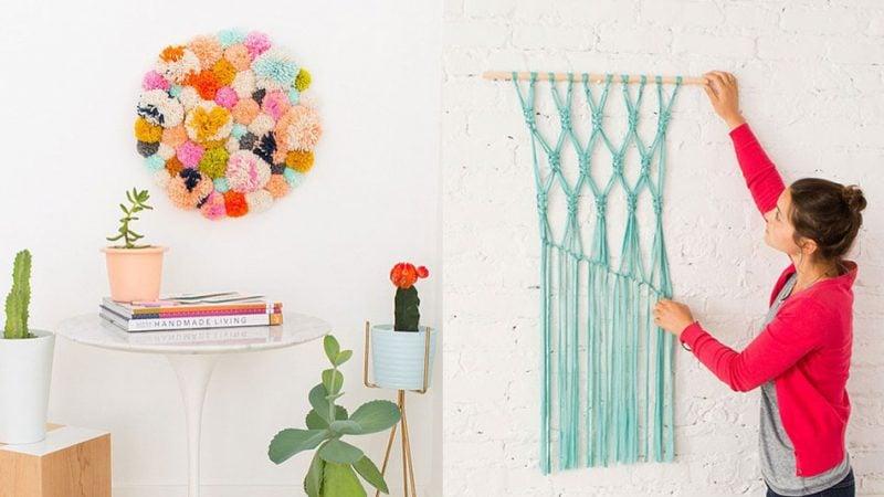 Wandtattoo selber machen DIY Design mit Wolle