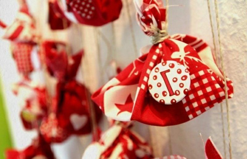 Adventskalender Filztüten Rot und Weiss