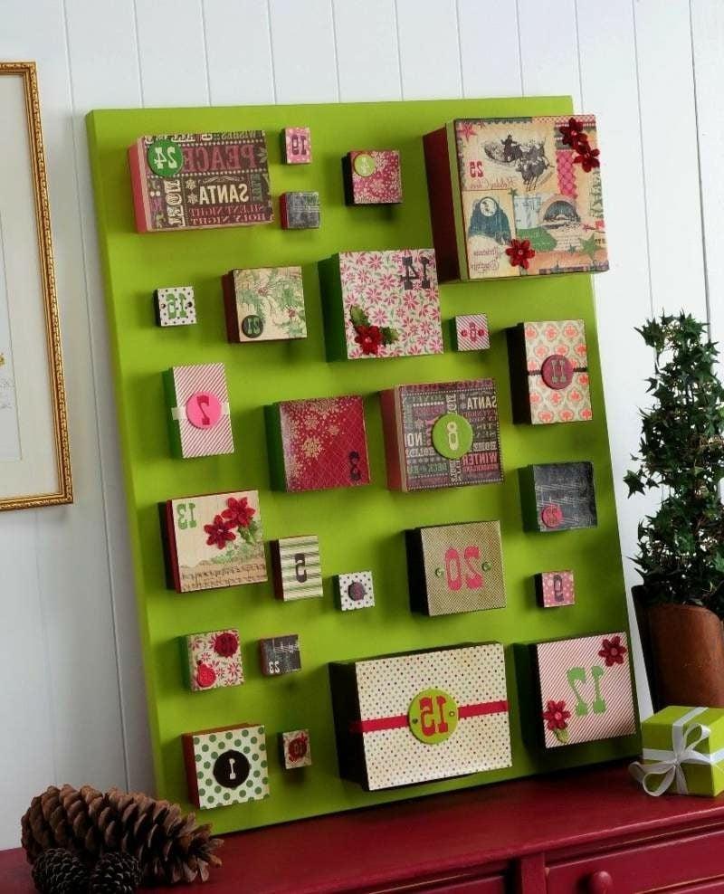 Adventskalender aus attraktiv dekorierten Schachteln