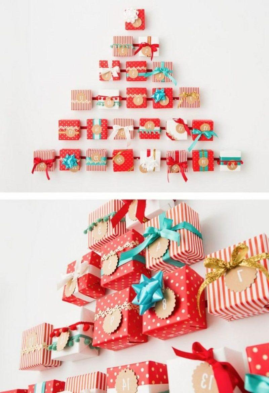 origineller Adventskalender Geschenksboxen Weihnachtsbaum