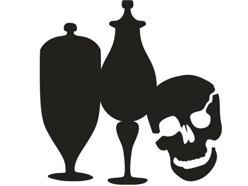 Apothekergläser und Schädel Halloween Kürbis Schnitzvorlagen
