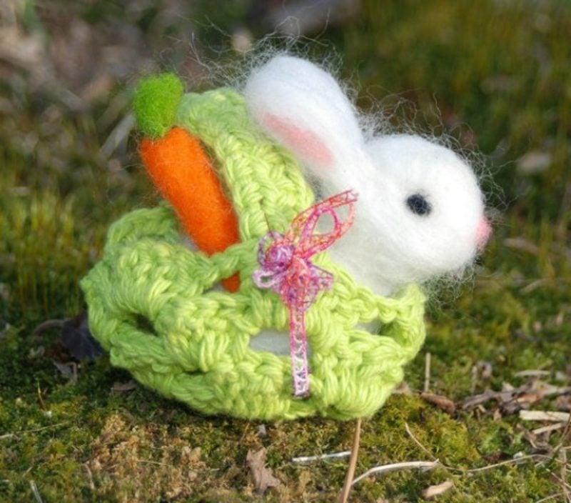 Osterhase aus Filz niedlich kreative Dekoideen Ostern