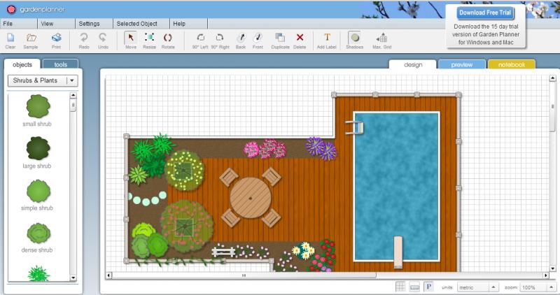Gartenplanung online 2D Effekte
