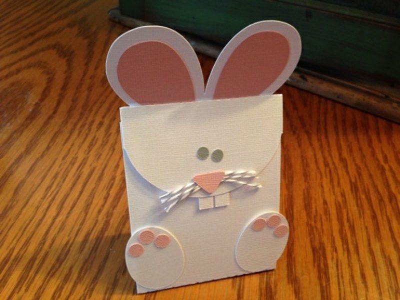 Geschenksbeutel aus Papier Osterhasen basteln