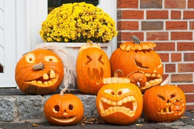 originelle Halloween Kürbis gruselige Gesichter