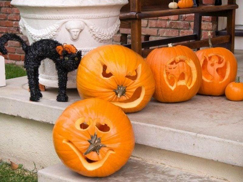Halloween Kürbis gruselige Gesichter attraktive Dekoration zum Halloween
