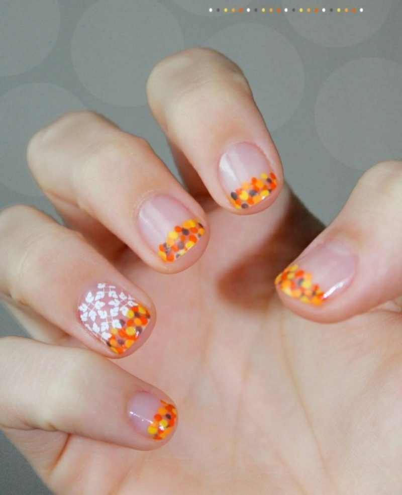 nagellack Orange Glitzerpartikel Herbst