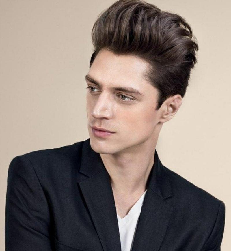 nach hinten gestylte Haare mittellang Herrenfrisuren 2014