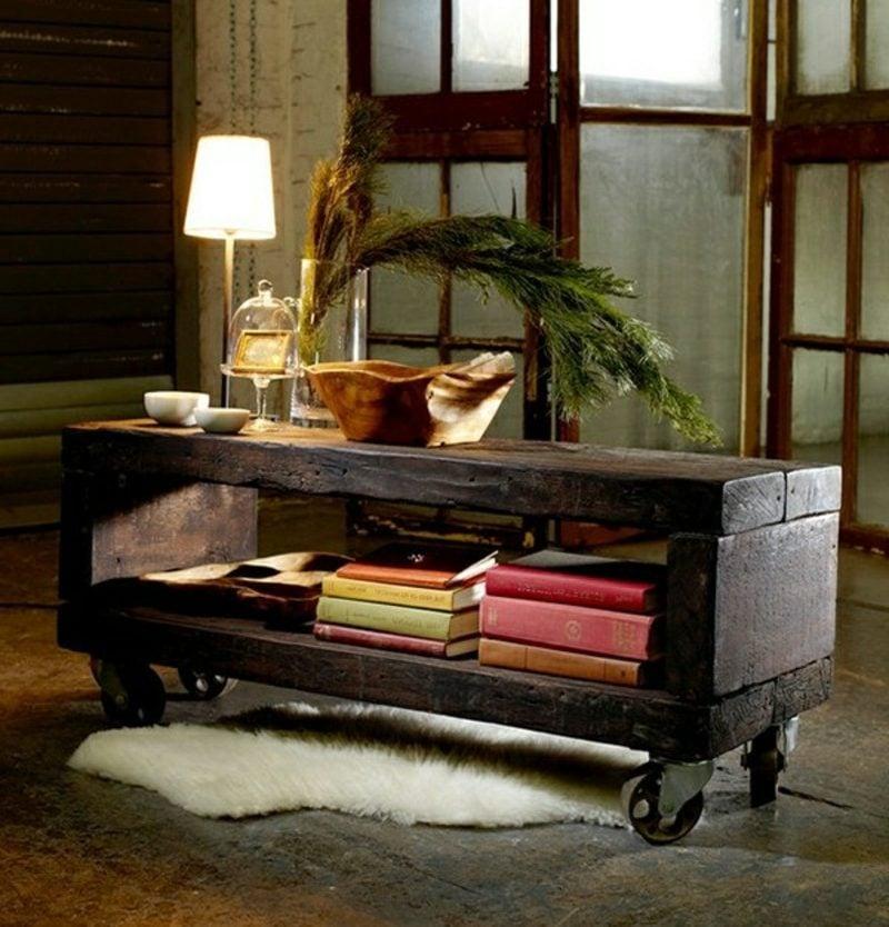 Holztisch auf Rollen modernes Design