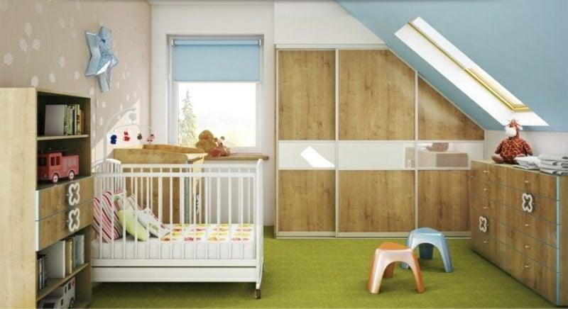 Kinderzimmer mit Dachschräge origineller begehbarer Kleiderschrank