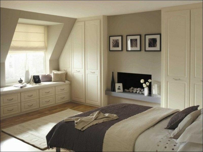 Schlafzimmer Kleiderschrank unter Dachschräge modernes Design