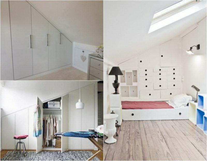 begehbarer Kleiderschrank unter Dachschräge kreative Ideen