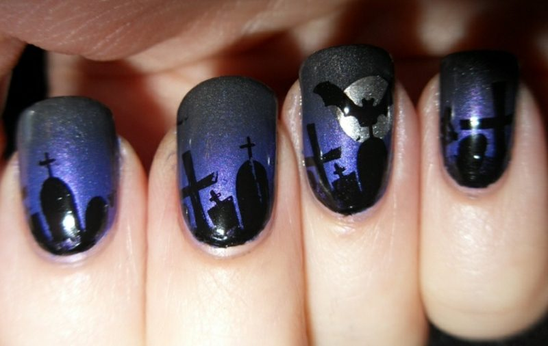 Nageldesign Friedhof originelle Motive zum Halloween