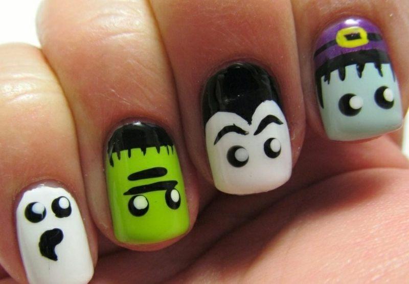 lustige Gesichter Nageldesign Muster Halloween