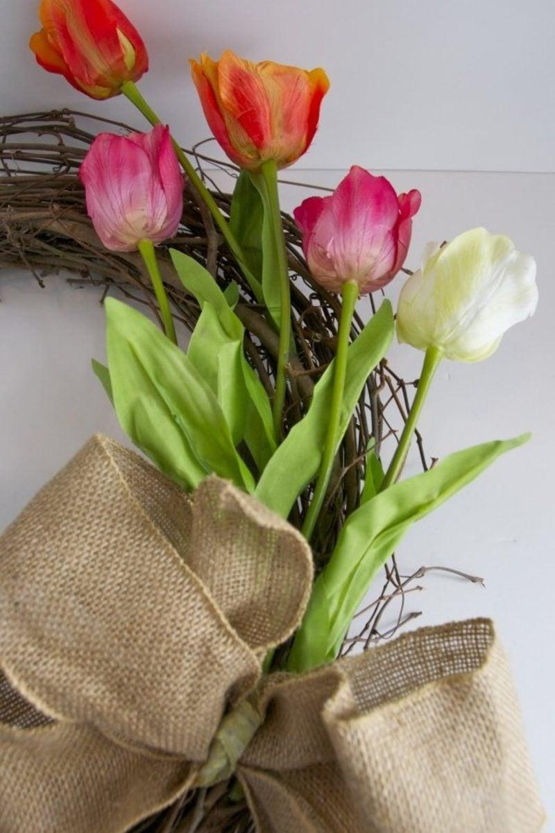 Kranz aus Tulpen selber machen kreative DIY Ideen