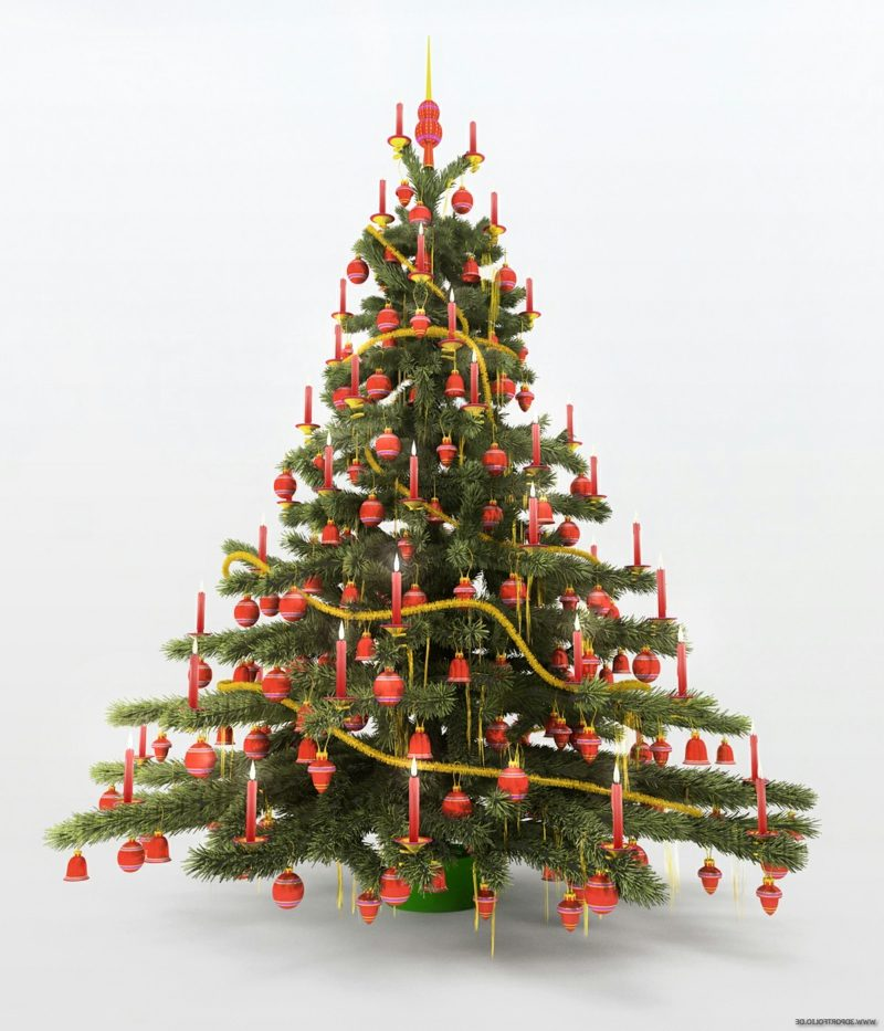 künstliches Weihnachtsbaum, dekoriert mit echten Kerzen