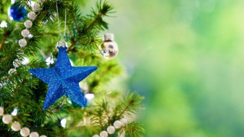 Weihnachtsbaum kaufen eleganter blauer Schmuck