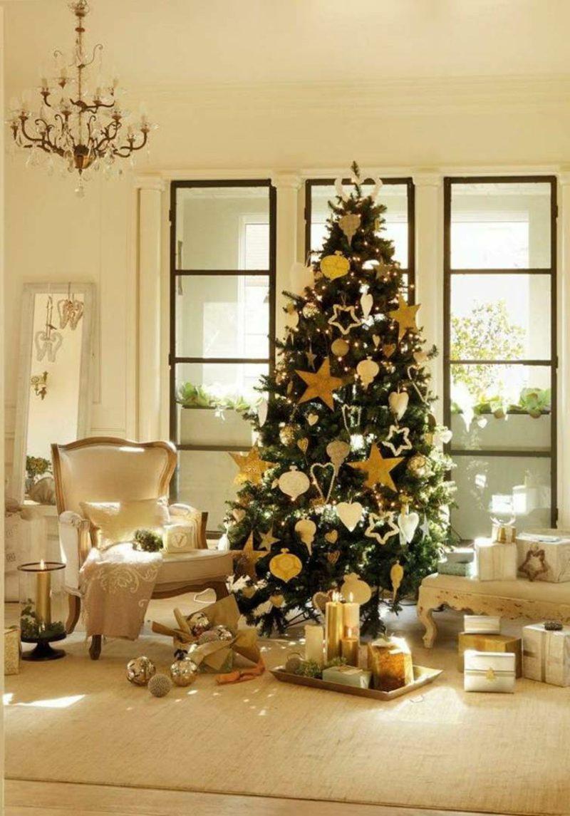 Weihnachtsbaum stilvoll dekoriert Wohnzimmer