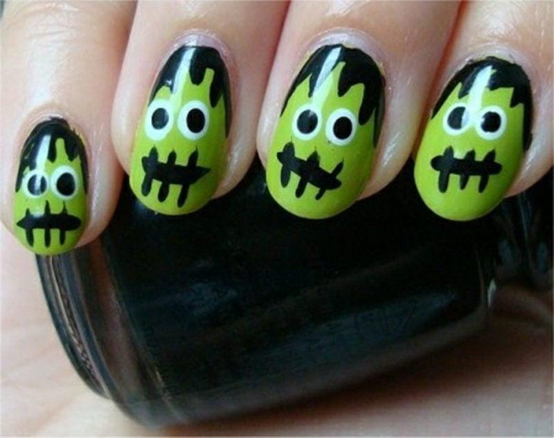 Zombienägel Halloween Neonfarben