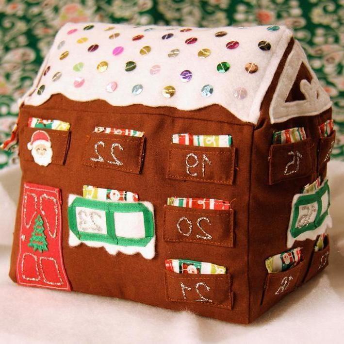 Adventskalender nähen im Form eines Hauses
