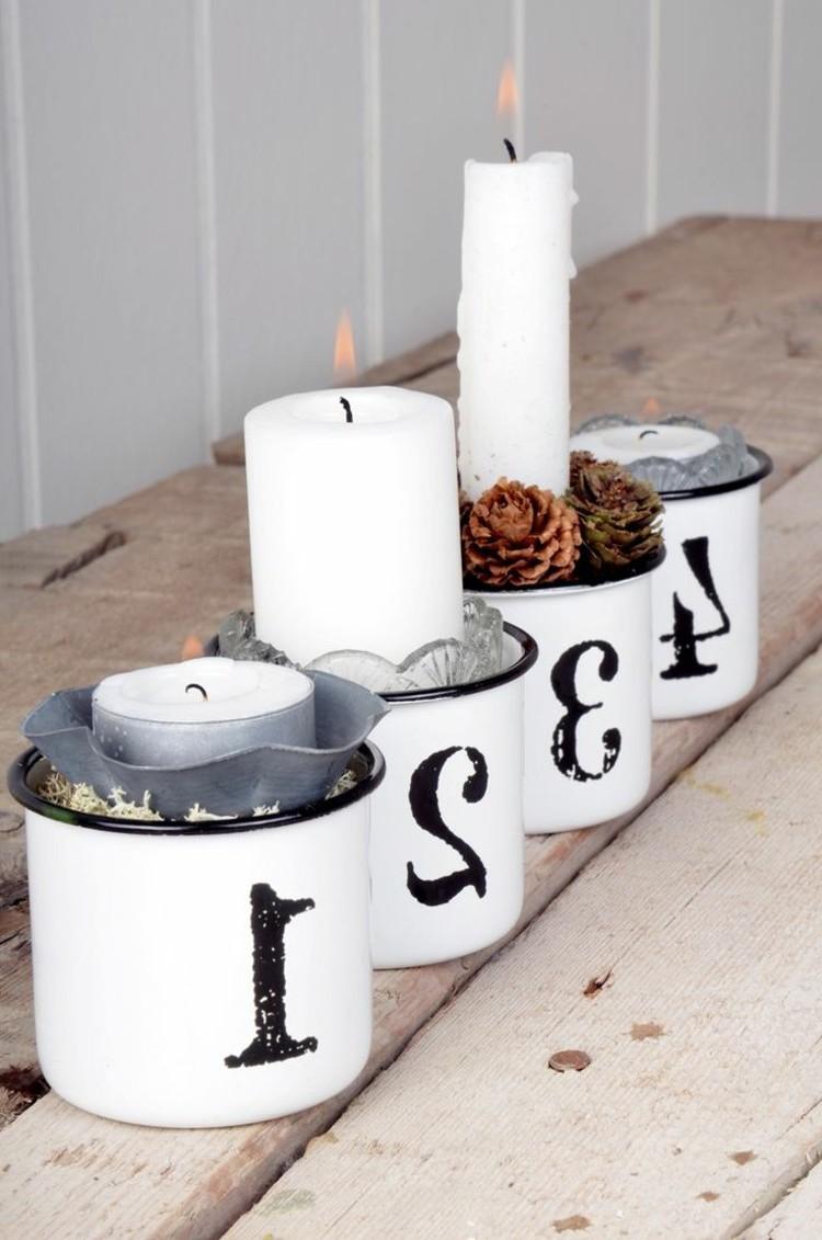 Adventskranz - bestellen Sie Kerzen und Tannenzapfen und in Tassen gestalten