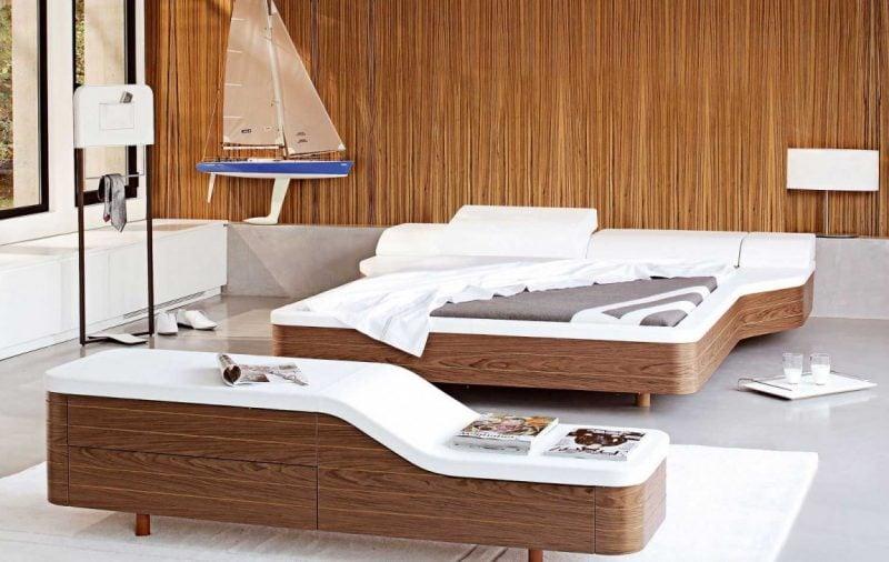 Bett ohne Kopfteil Idee moderne Schlafzimmergestaltung