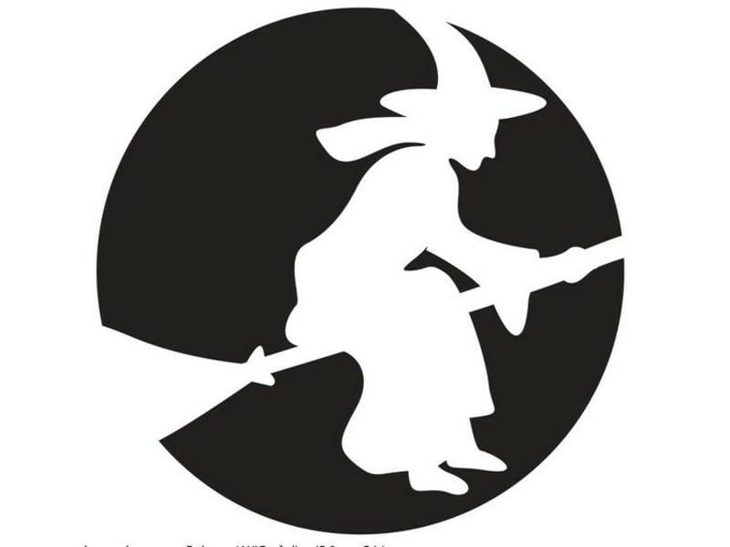 Halloween Kürbis Schnitzvorlagen fliegende Hexe