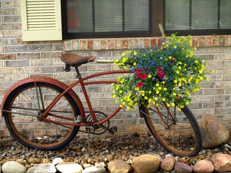 46 ideen f r gartendeko rost da die natur am besten - Gartendeko fahrrad ...