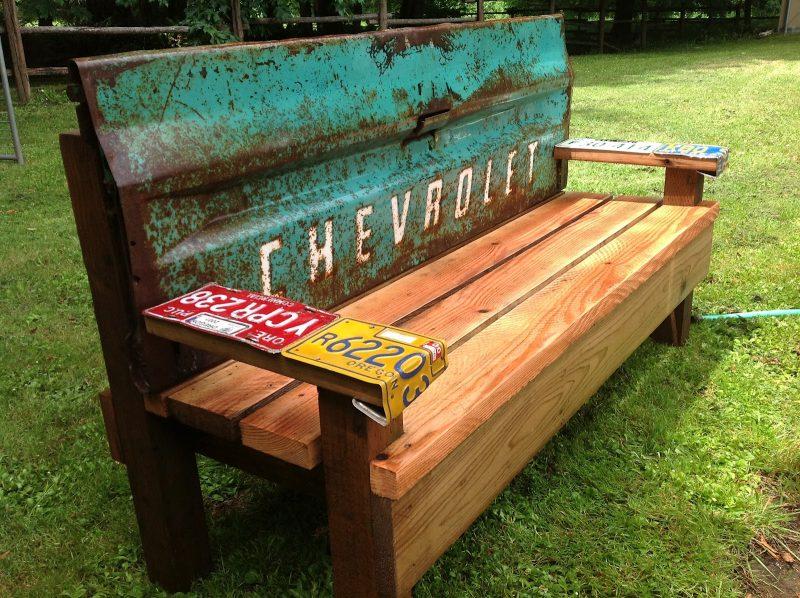 Gartendeko Rost als Sitzbank