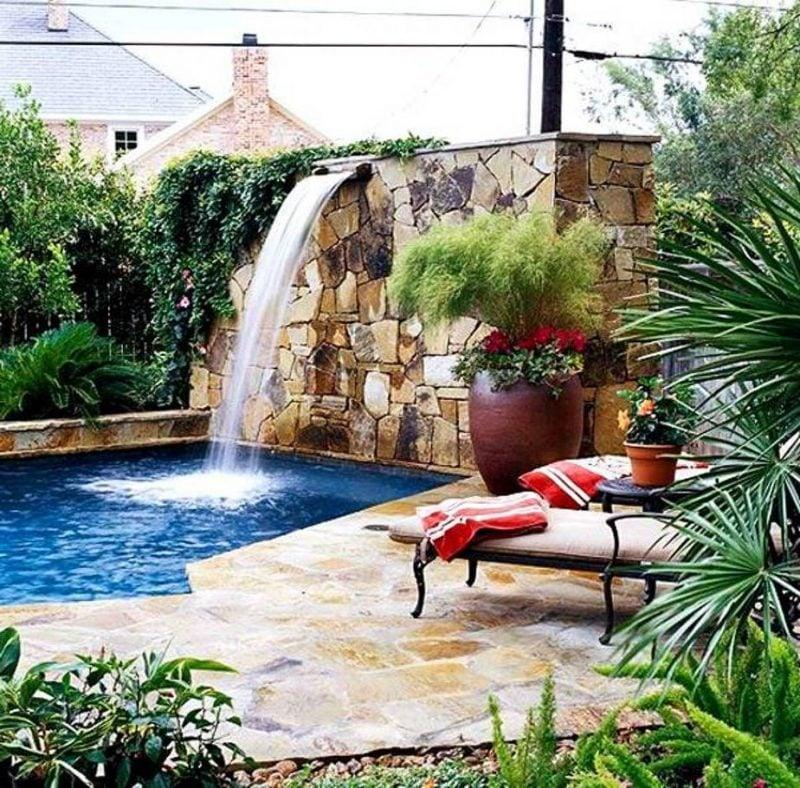 Ideen für Gartengestaltung mit Steinen - Wasserfall