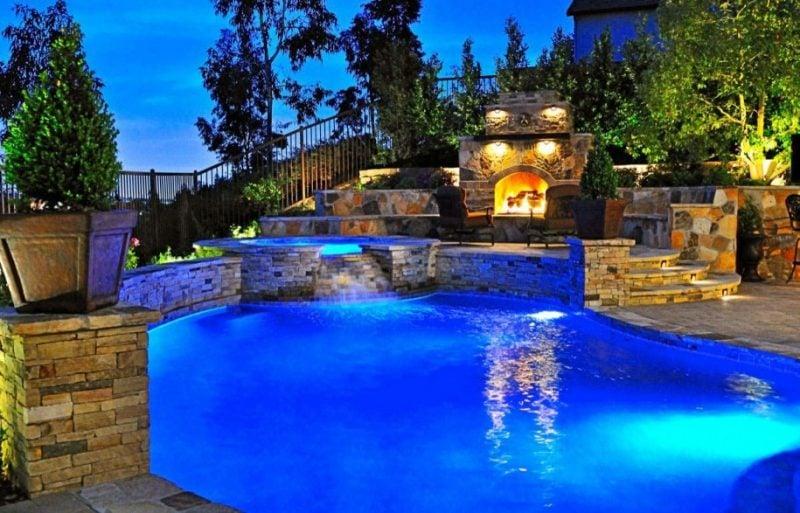 Ideen für Gartengestaltung mit Steinen: Schwimmbad