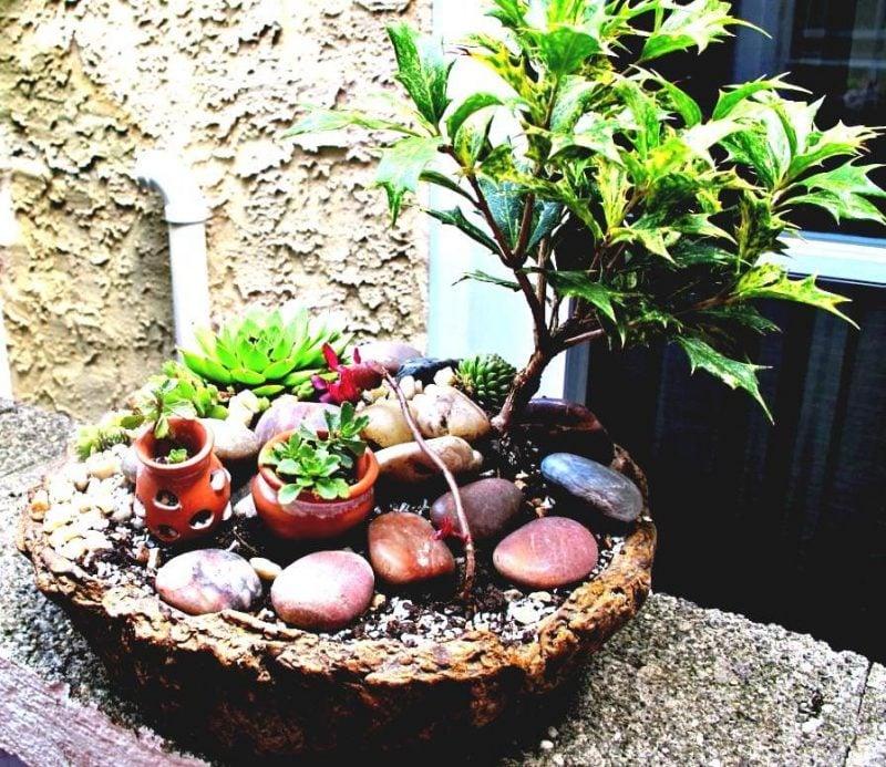 Ideen für Gartengestaltung mit Steinen nur als Deko