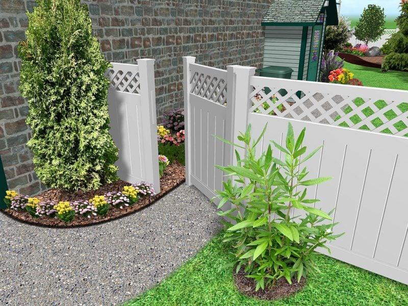 Gartenzaun aus Kunststoff 3D Projekt mit Tor