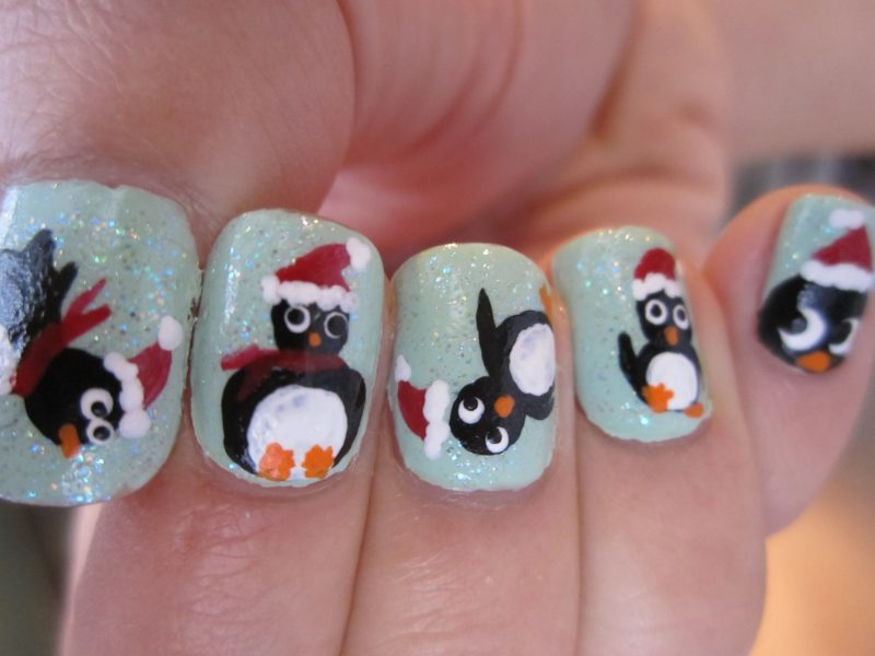 Gelnägel Muster Pinguin