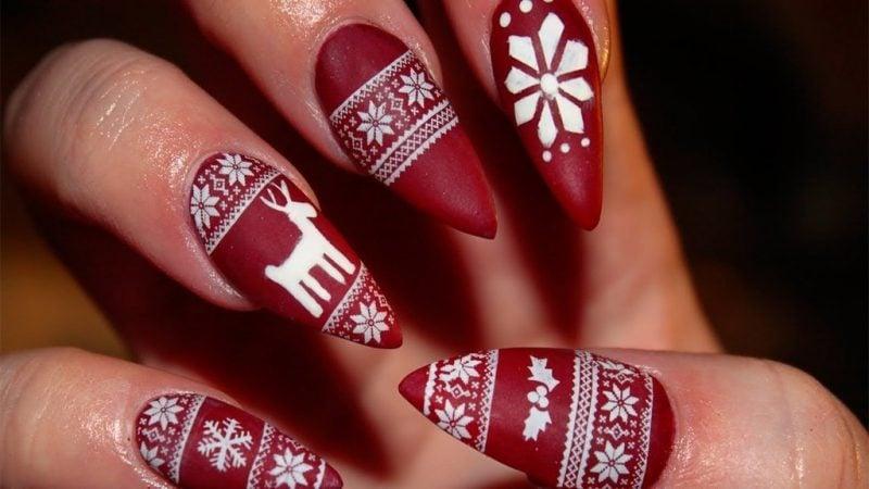 Gelnägel Muster Rot Weihnachten