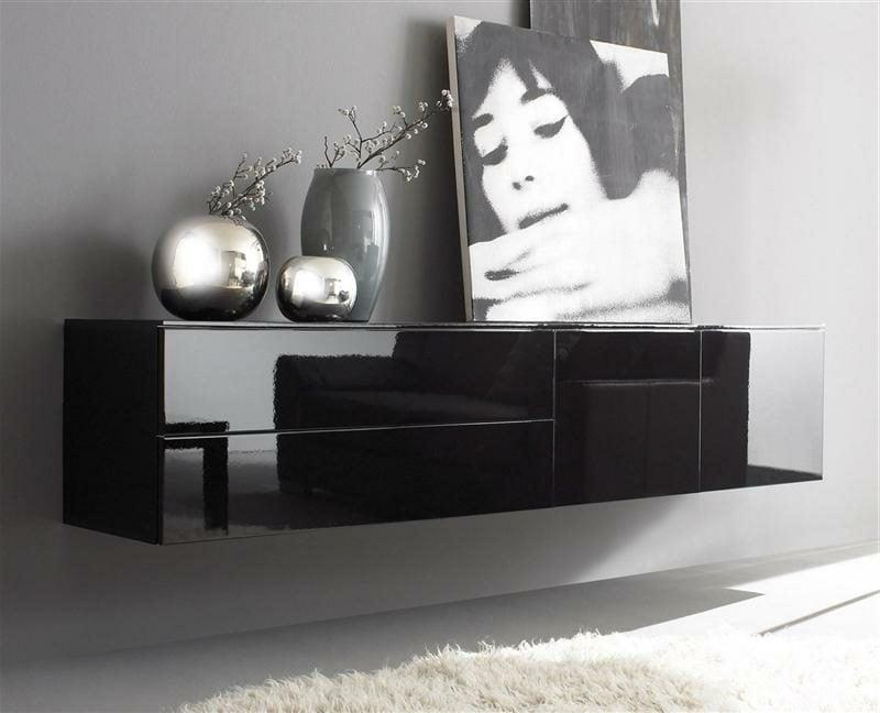 schwarzes Sideboard hängend modernes Design