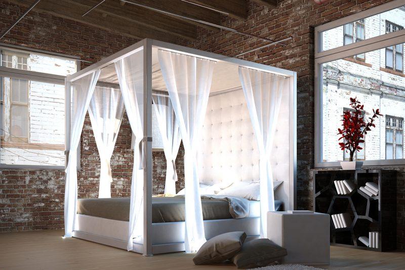 Himmelbett Vorhang mit LED Beleuchtung