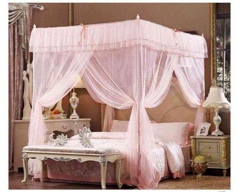 Himmelbett Vorhang in Rosa