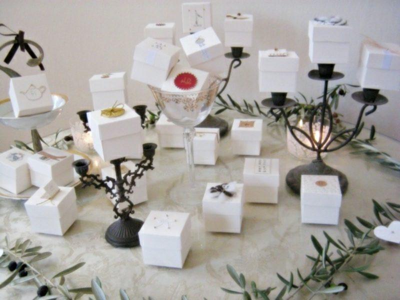 Dekoideen Weihnachten Adventskalender Schachteln aus Papier