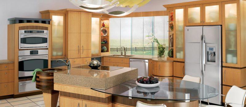 Küchenplatten Kombination von Glas und Granit