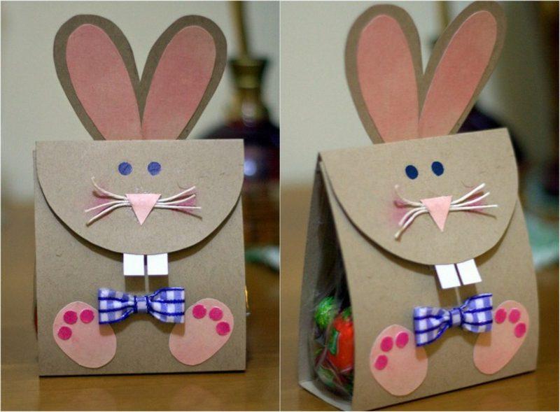 Hasen basteln originelle Geschenkstüte aus Papier