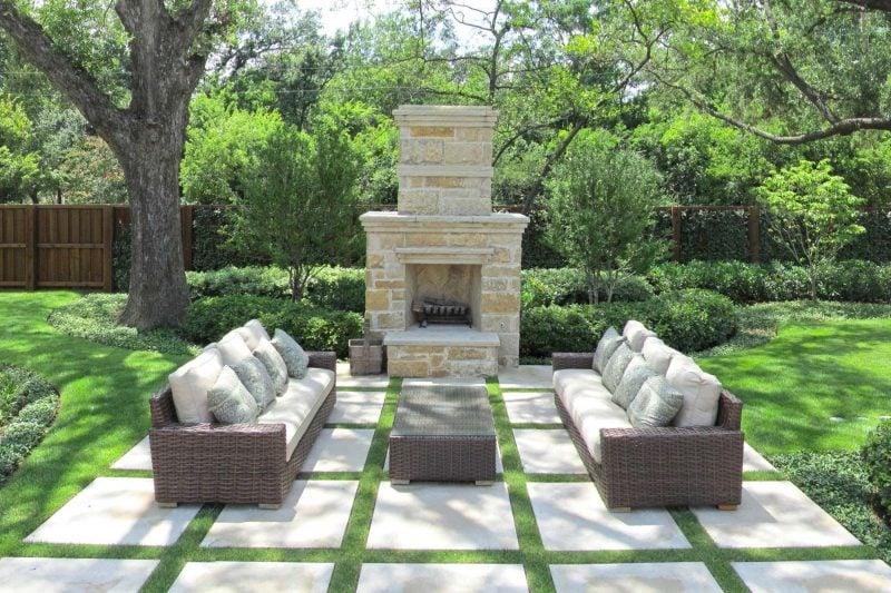 Moderne Gartengestaltung mit Kamine