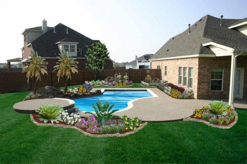 Moderne Gartengestaltung mit Schwimmbad